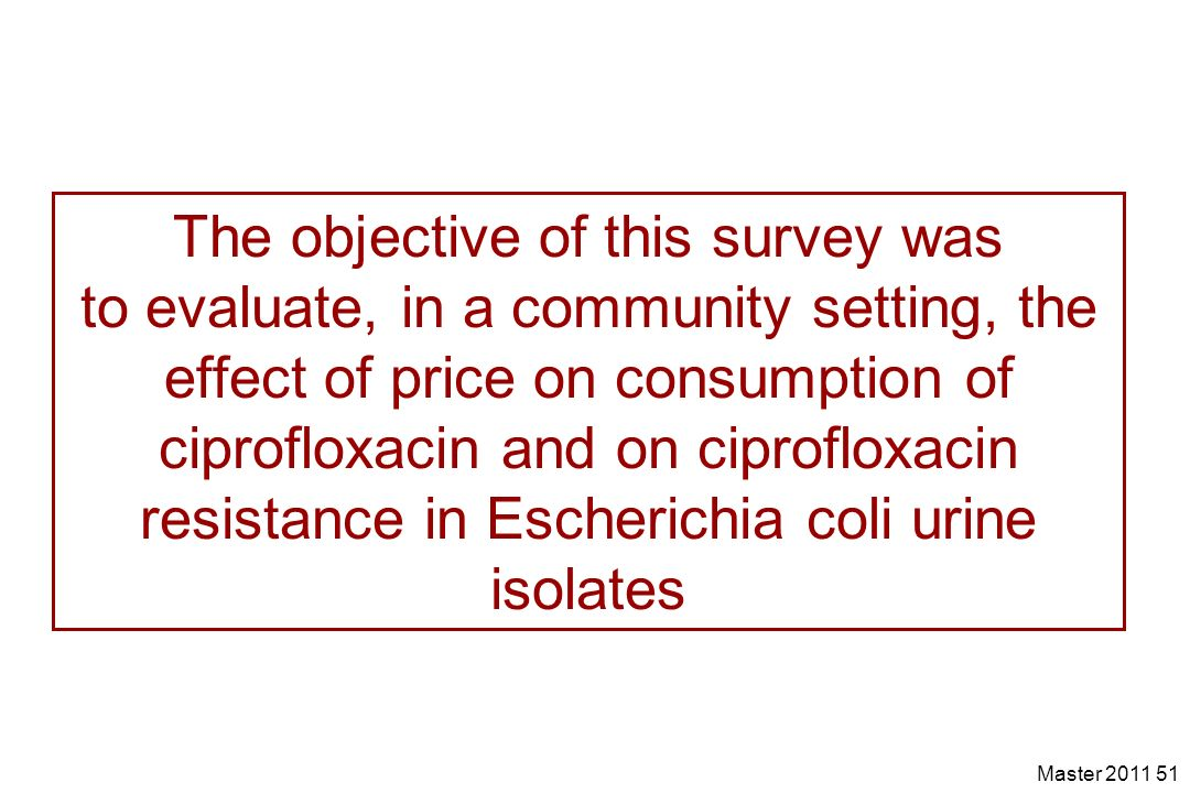 The objective of this survey was to evaluate, in a community setting, the effect of price on consumption of ciprofloxacin and on ciprofloxacin resistance in Escherichia coli urine isolates