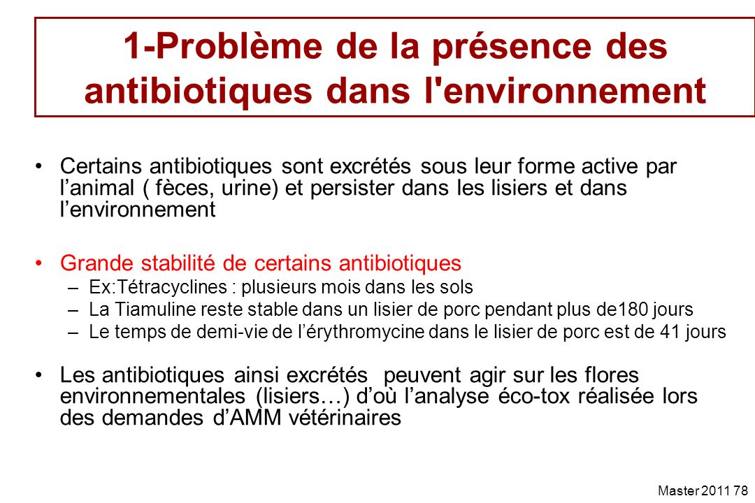 1-Problème de la présence des antibiotiques dans l environnement