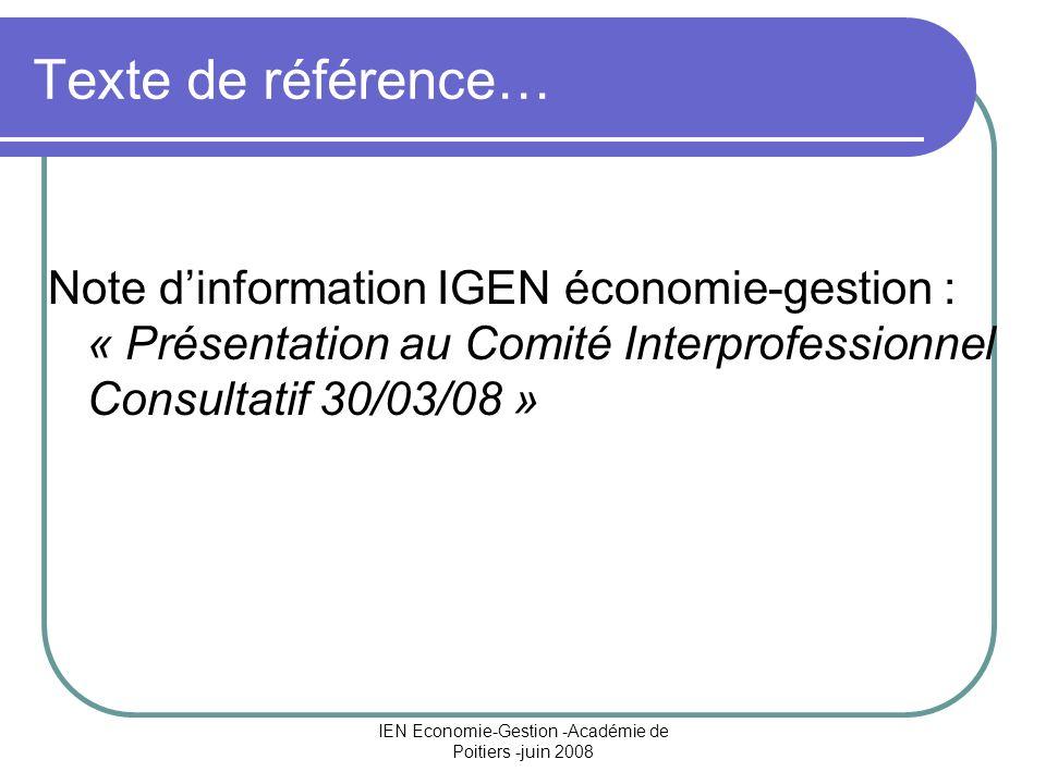 IEN Economie-Gestion -Académie de Poitiers -juin 2008