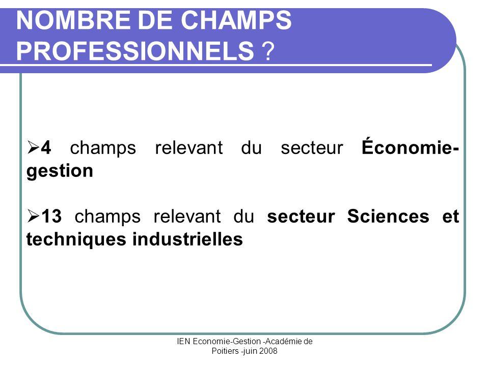 NOMBRE DE CHAMPS PROFESSIONNELS