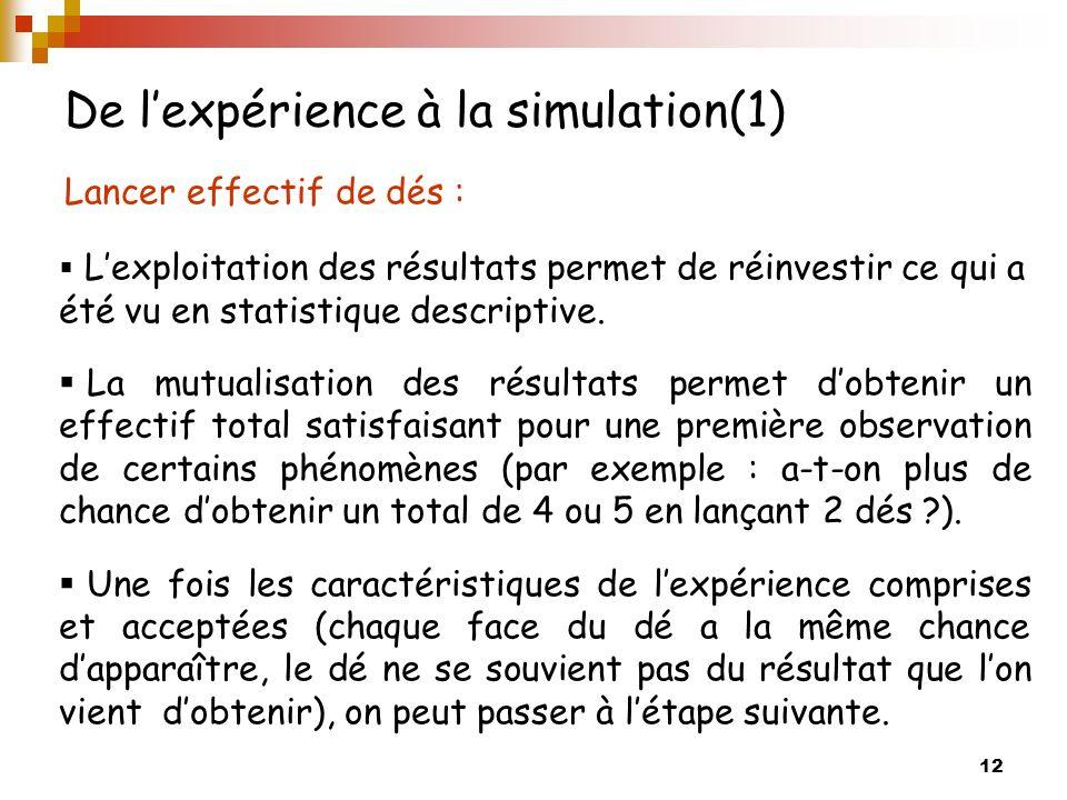 De l'expérience à la simulation(1)