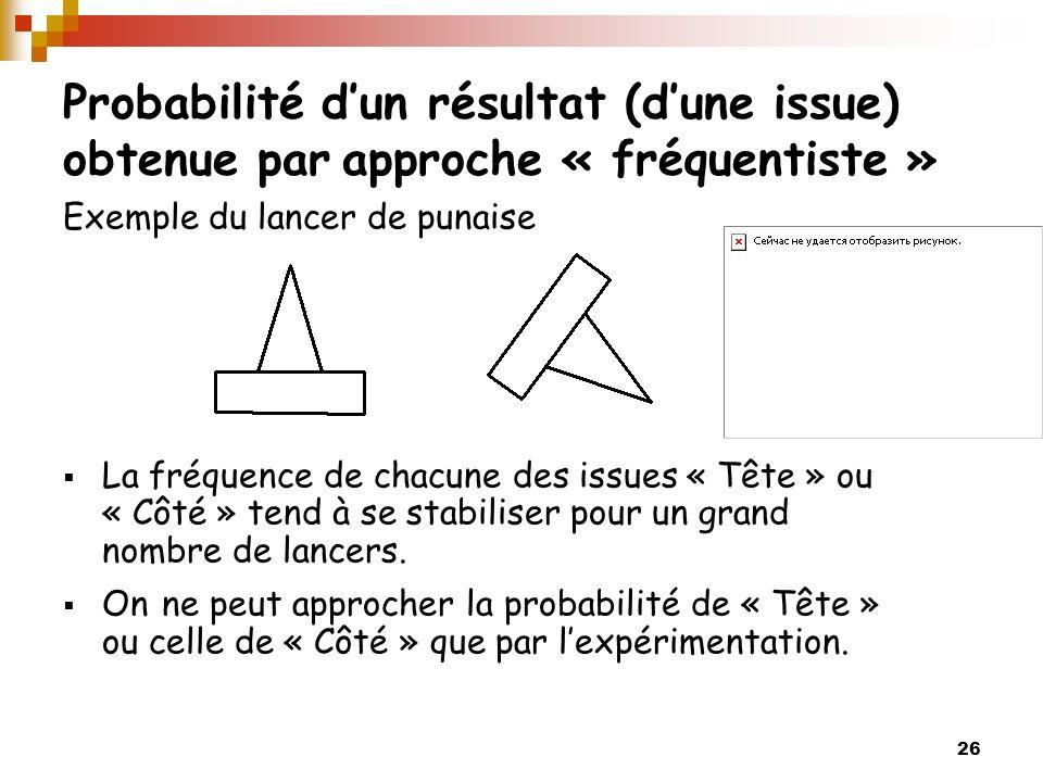 Probabilité d'un résultat (d'une issue) obtenue par approche « fréquentiste »