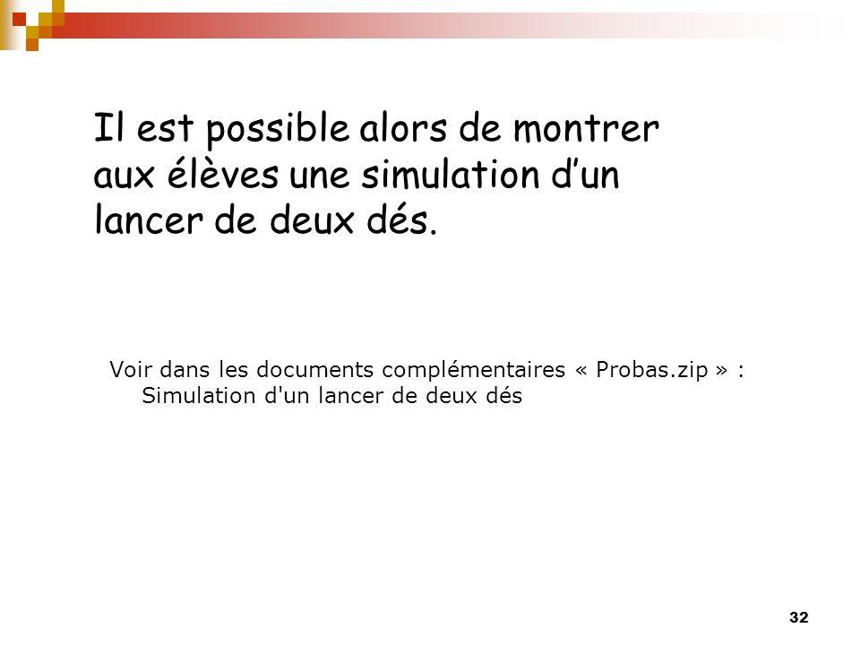 Il est possible alors de montrer aux élèves une simulation d'un lancer de deux dés.