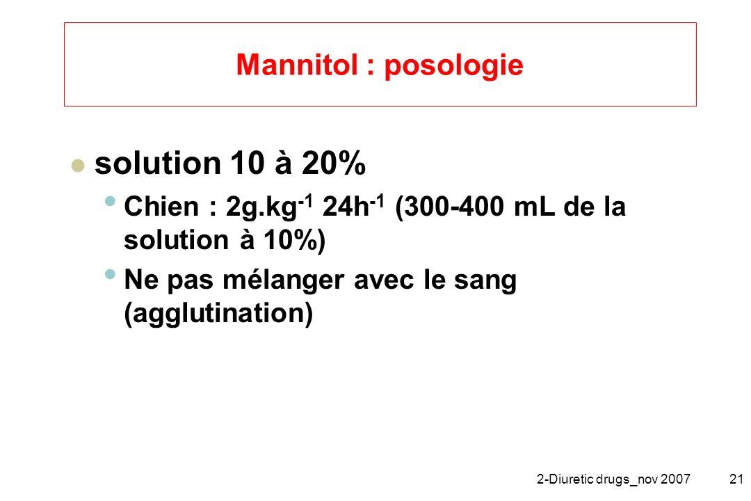 solution 10 à 20% Mannitol : posologie