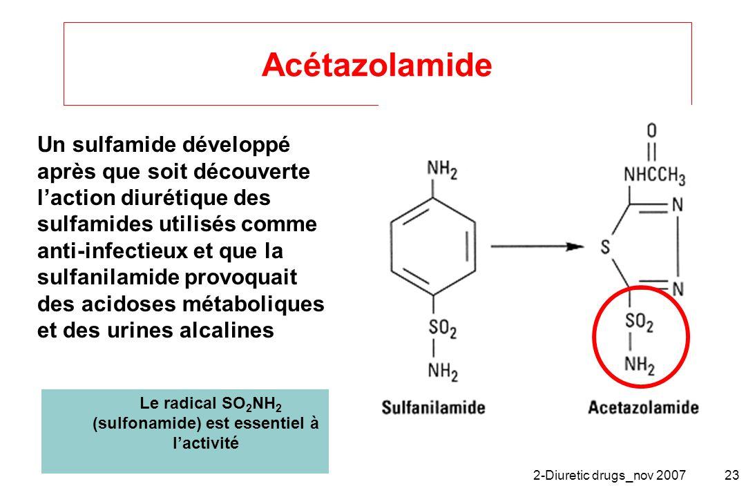 Le radical SO2NH2 (sulfonamide) est essentiel à l'activité