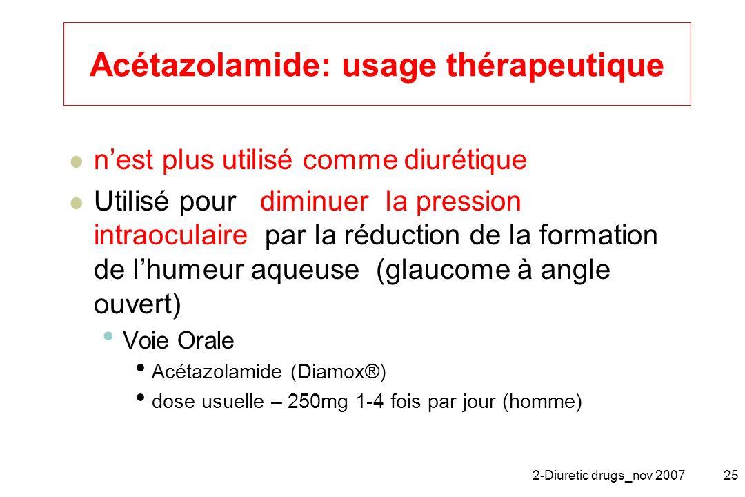Acétazolamide: usage thérapeutique