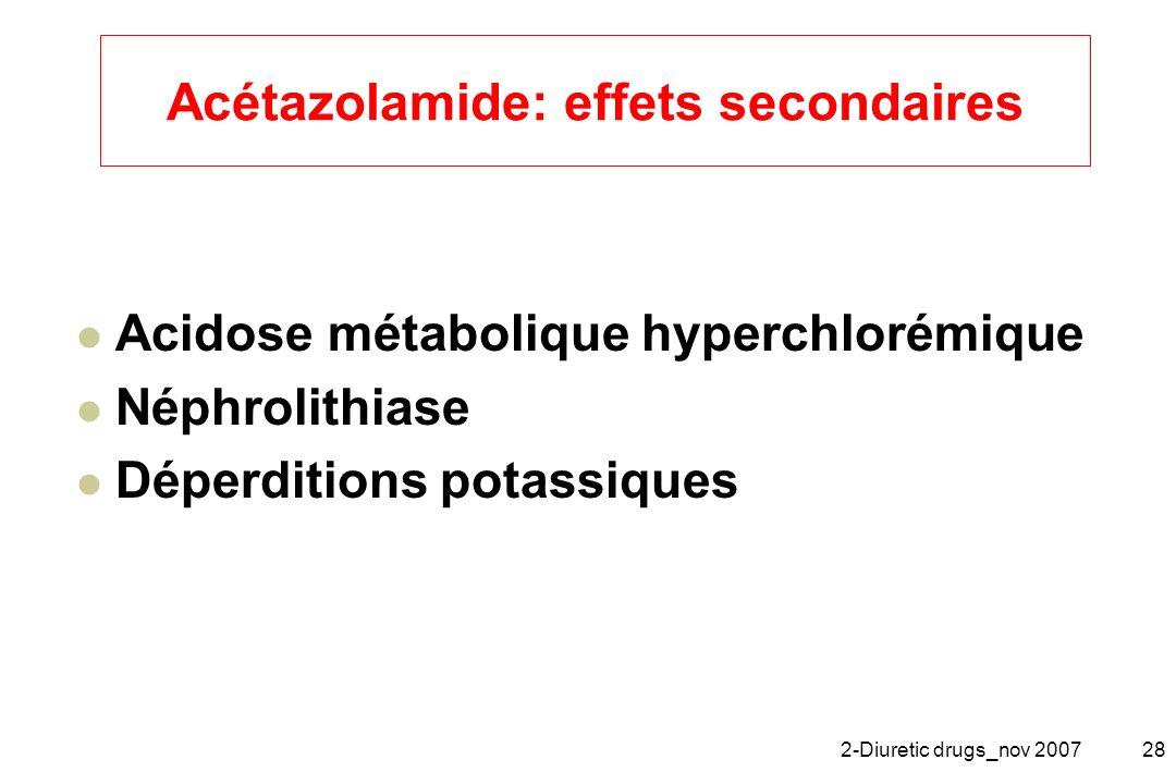 Acétazolamide: effets secondaires