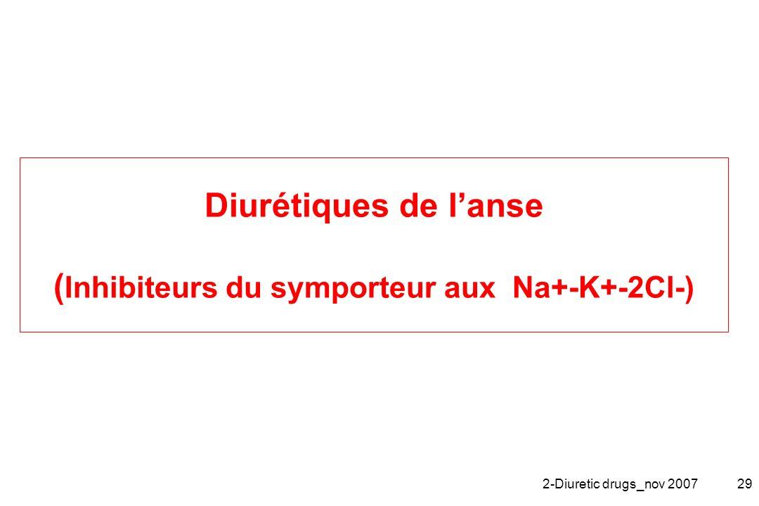 Diurétiques de l'anse (Inhibiteurs du symporteur aux Na+-K+-2Cl-)