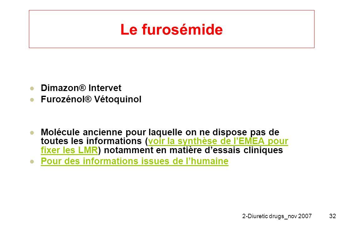 Le furosémide Dimazon® Intervet Furozénol® Vétoquinol
