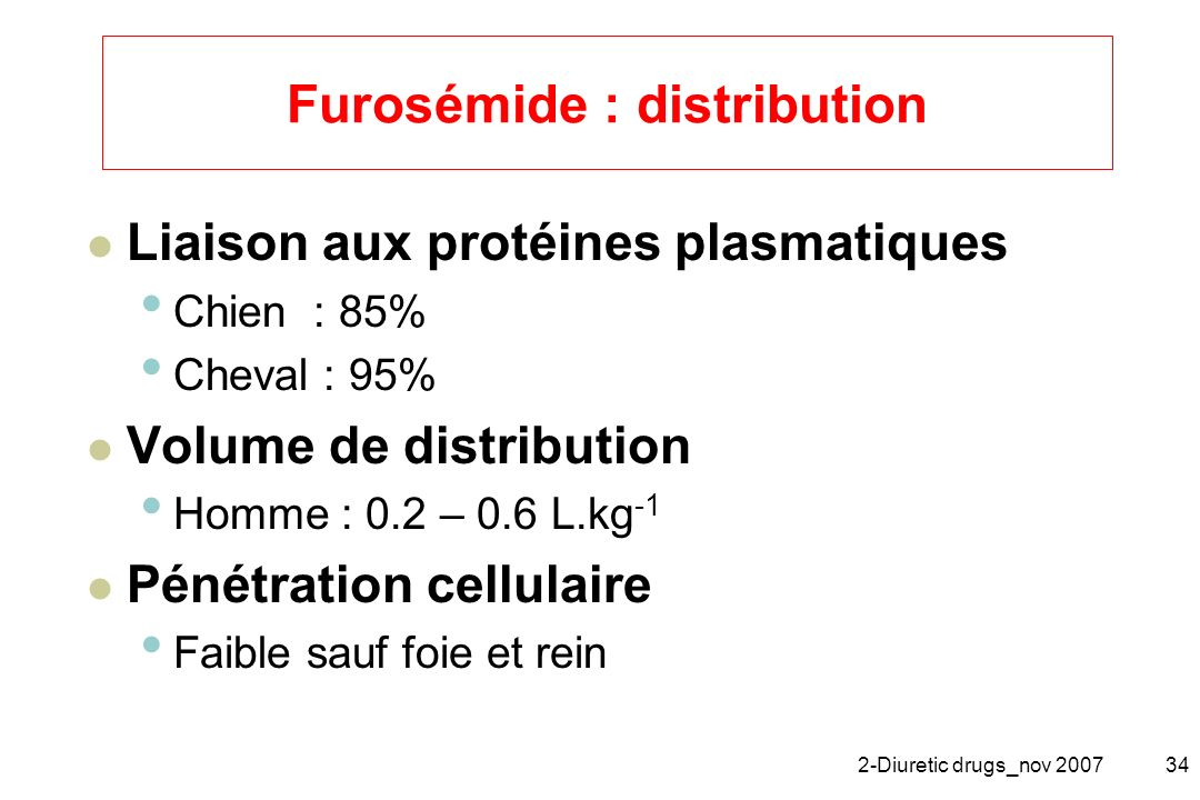 Furosémide : distribution