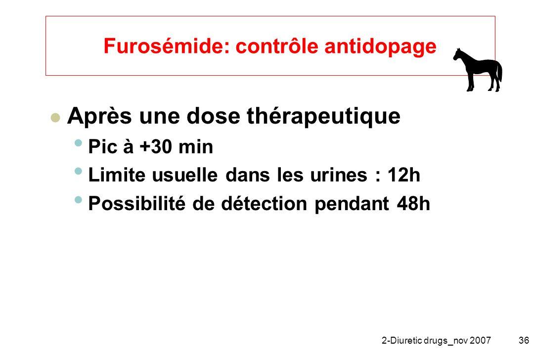 Furosémide: contrôle antidopage