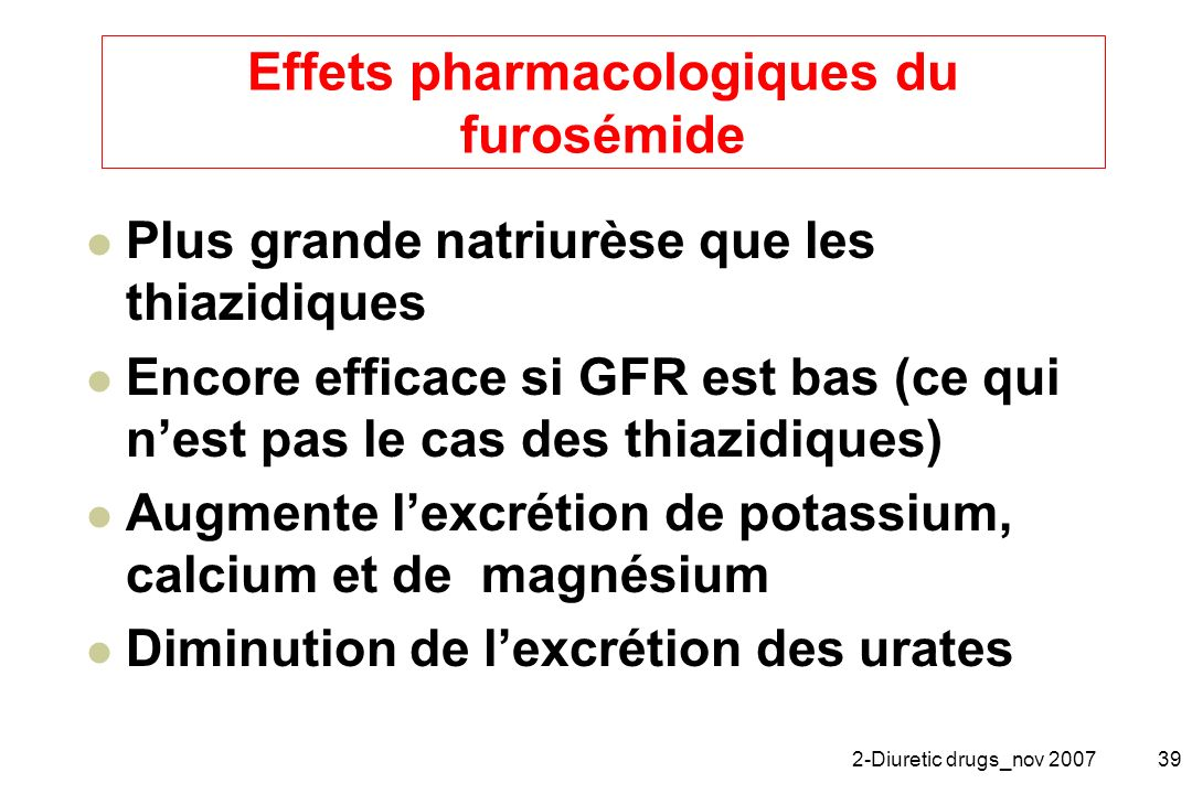 Effets pharmacologiques du furosémide
