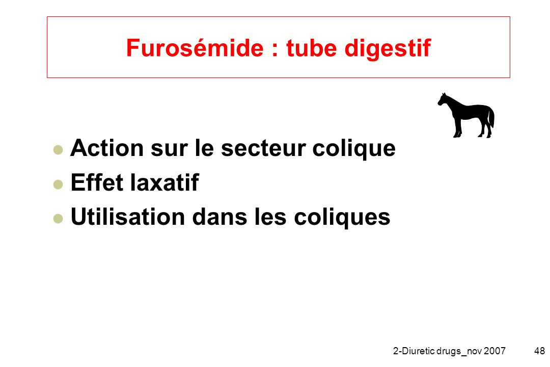 Furosémide : tube digestif