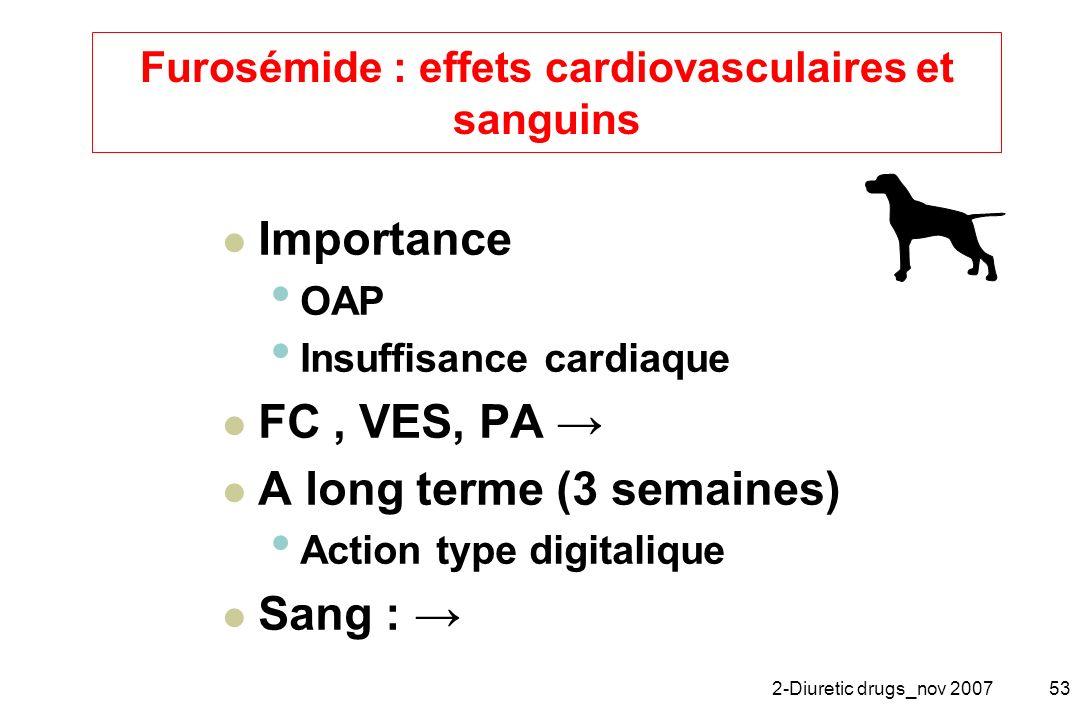 Furosémide : effets cardiovasculaires et sanguins