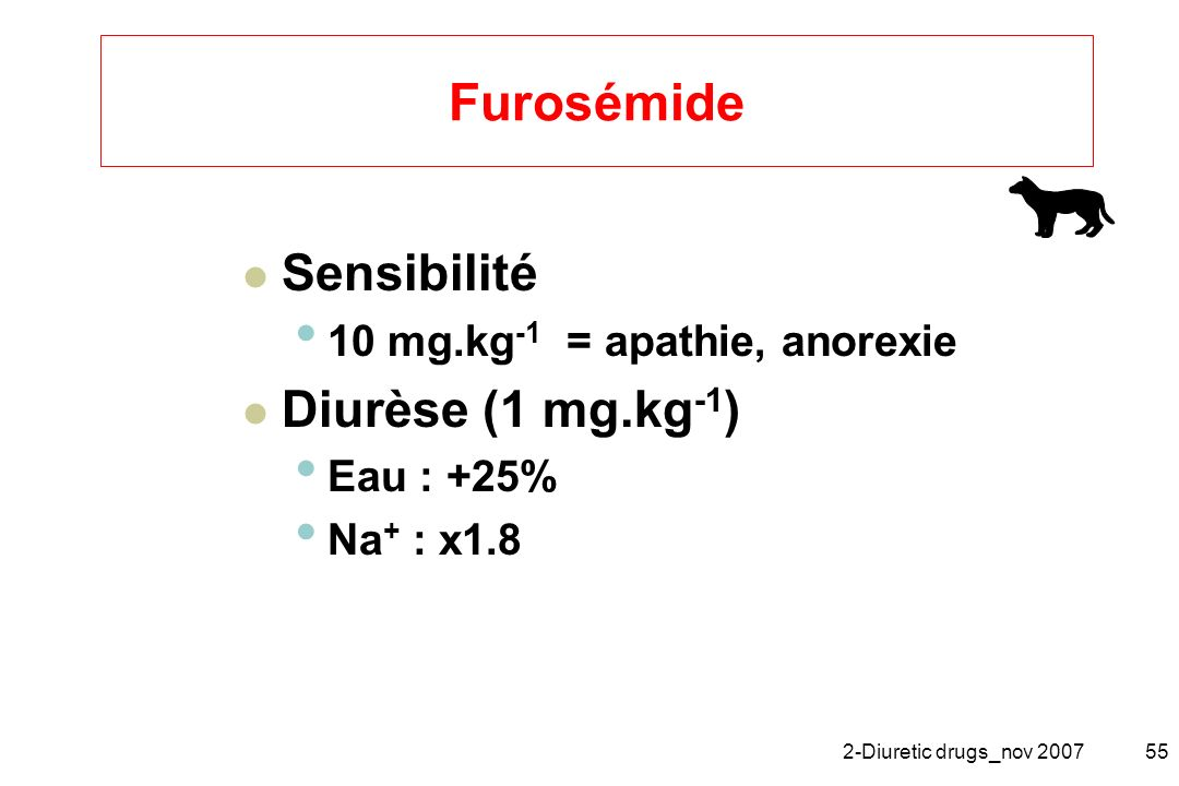 Furosémide Sensibilité Diurèse (1 mg.kg-1)