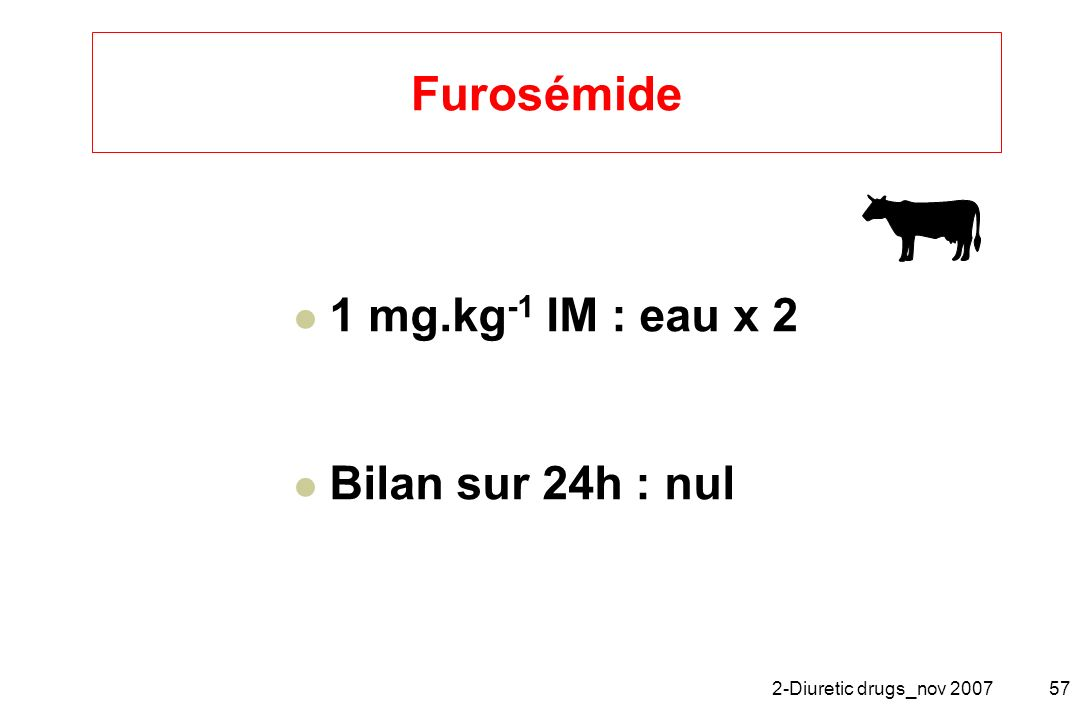 Furosémide 1 mg.kg-1 IM : eau x 2 Bilan sur 24h : nul