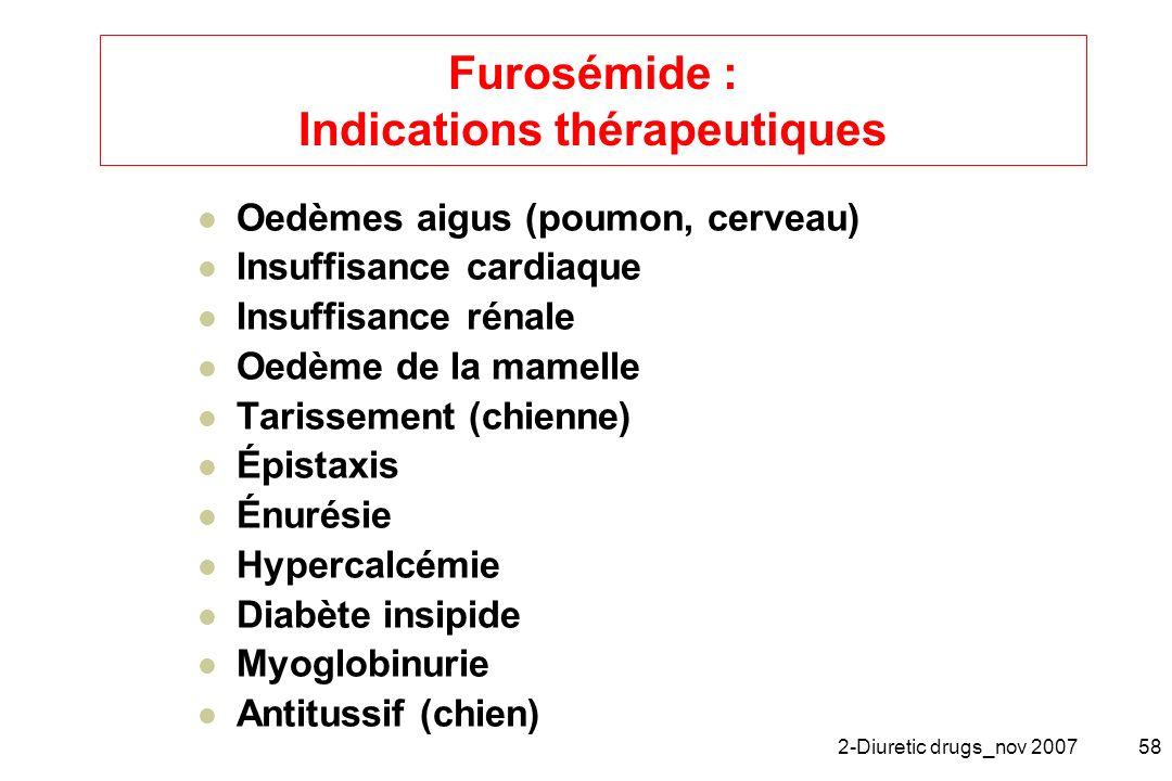 Furosémide : Indications thérapeutiques