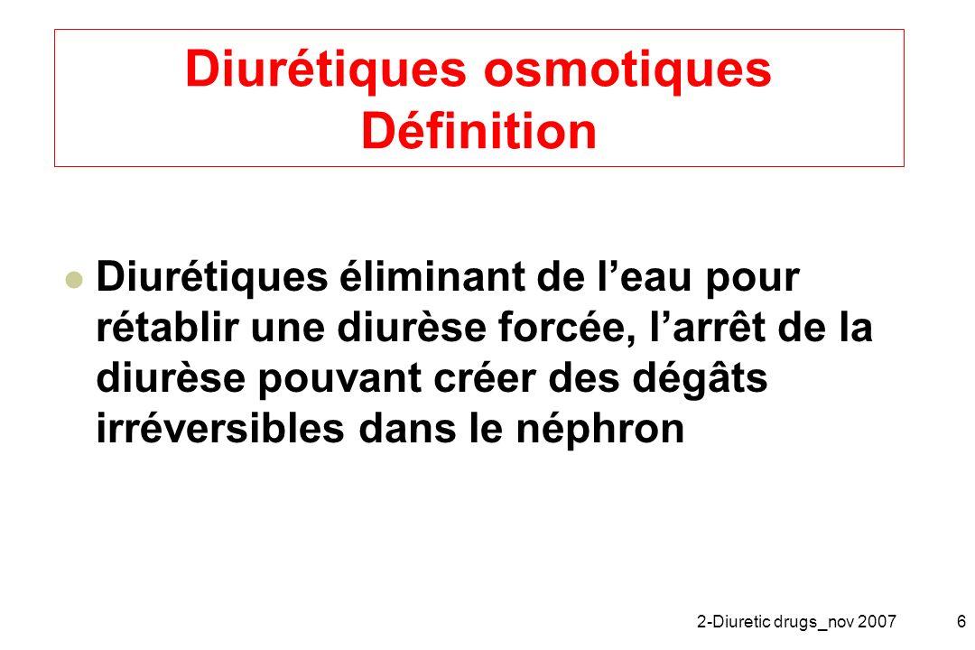 Diurétiques osmotiques Définition