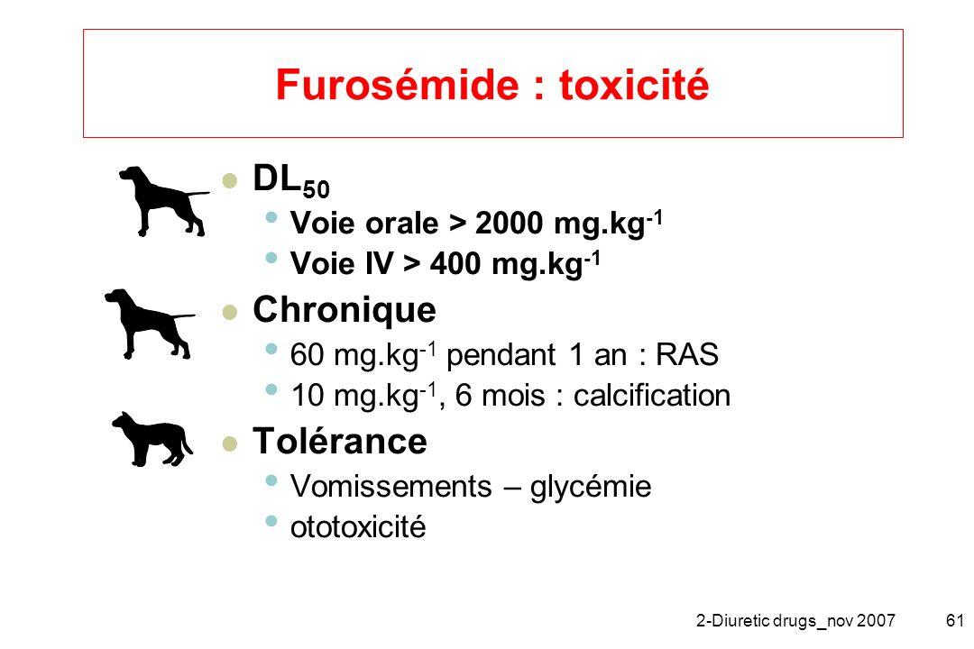 Furosémide : toxicité DL50 Chronique Tolérance