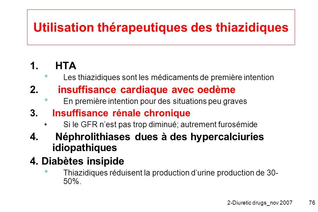Utilisation thérapeutiques des thiazidiques