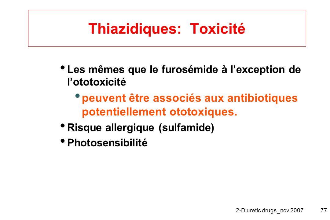 Thiazidiques: Toxicité