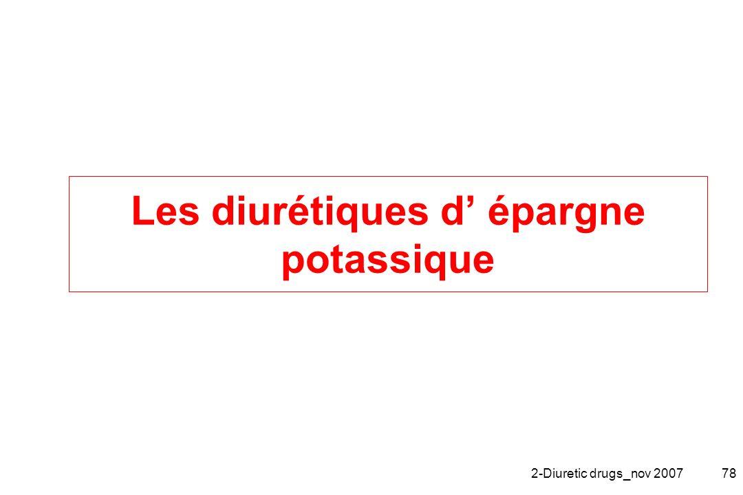 Les diurétiques d' épargne potassique