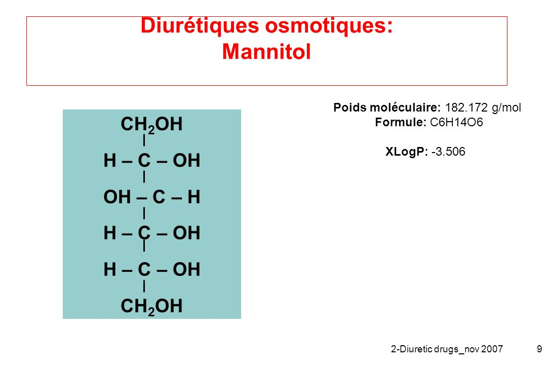 Diurétiques osmotiques: Mannitol