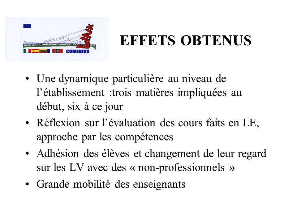 EFFETS OBTENUS Une dynamique particulière au niveau de l'établissement :trois matières impliquées au début, six à ce jour.