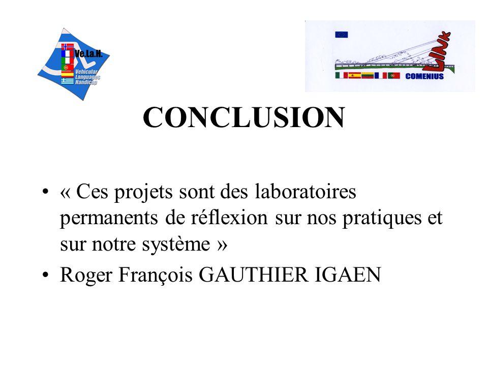 CONCLUSION « Ces projets sont des laboratoires permanents de réflexion sur nos pratiques et sur notre système »