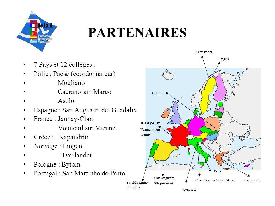 PARTENAIRES 7 Pays et 12 collèges : Italie : Paese (coordonnateur)