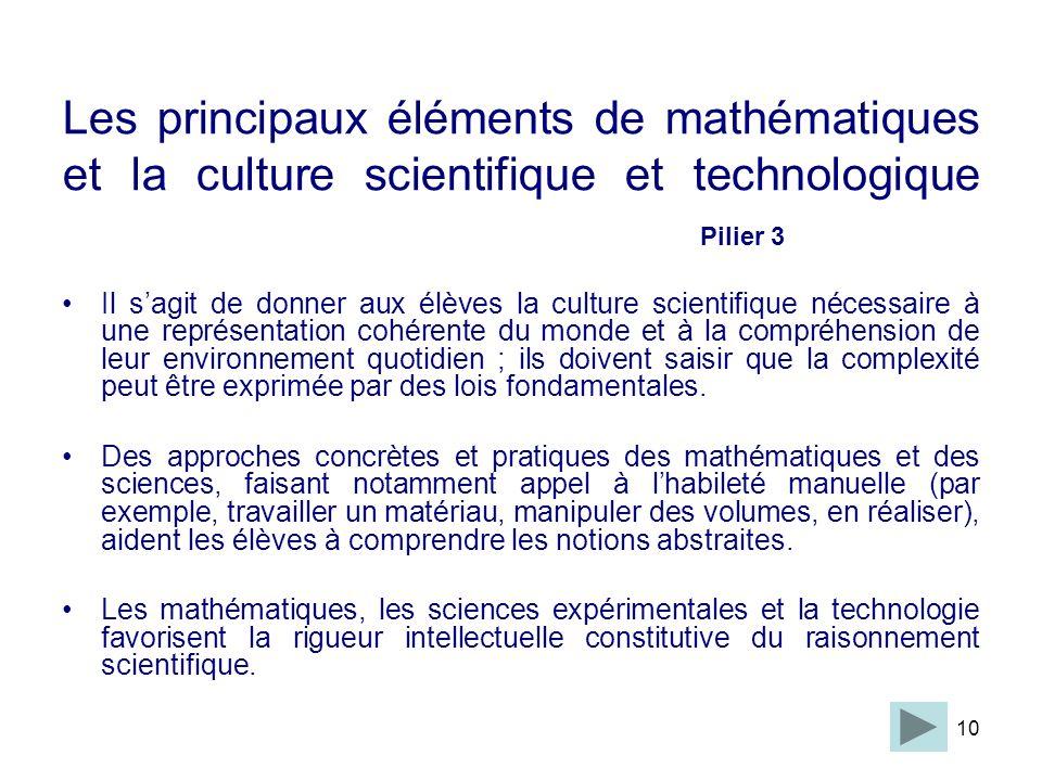 Les principaux éléments de mathématiques et la culture scientifique et technologique Pilier 3