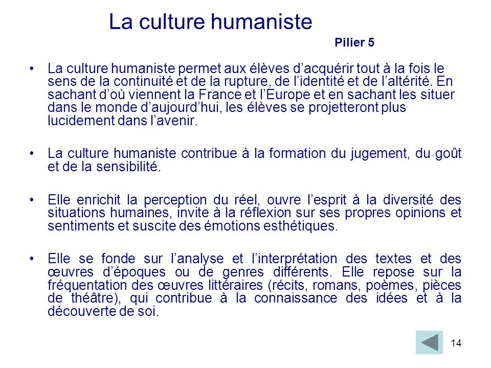 La culture humaniste Pilier 5