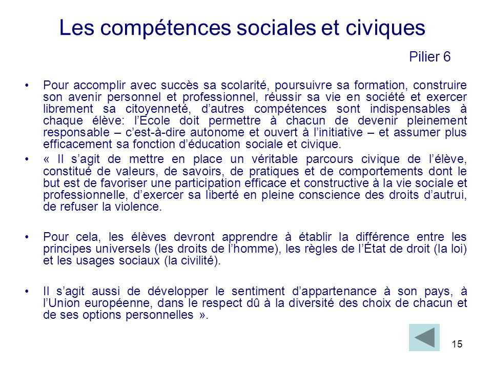 Les compétences sociales et civiques Pilier 6