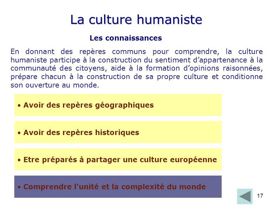 La culture humaniste Les connaissances