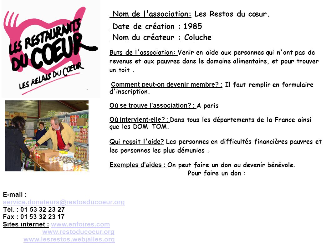 Nom de l association: Les Restos du cœur. Date de création : 1985