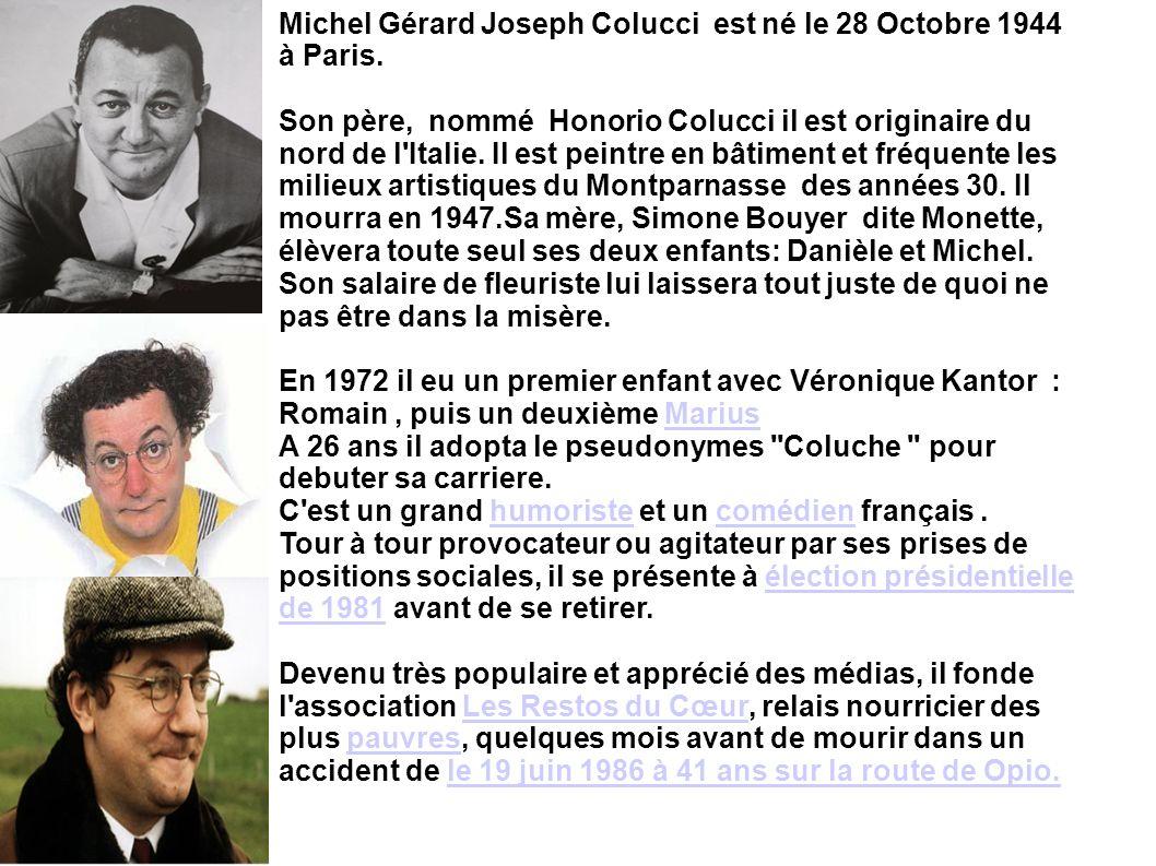 Michel Gérard Joseph Colucci est né le 28 Octobre 1944 à Paris.