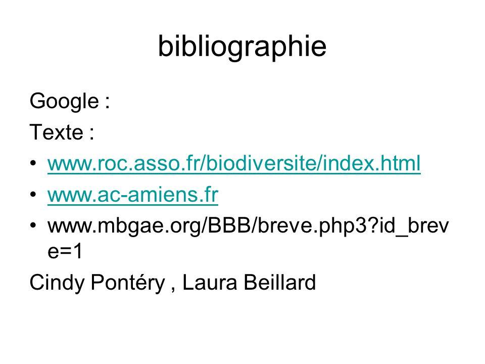 bibliographie Google : Texte : www.roc.asso.fr/biodiversite/index.html