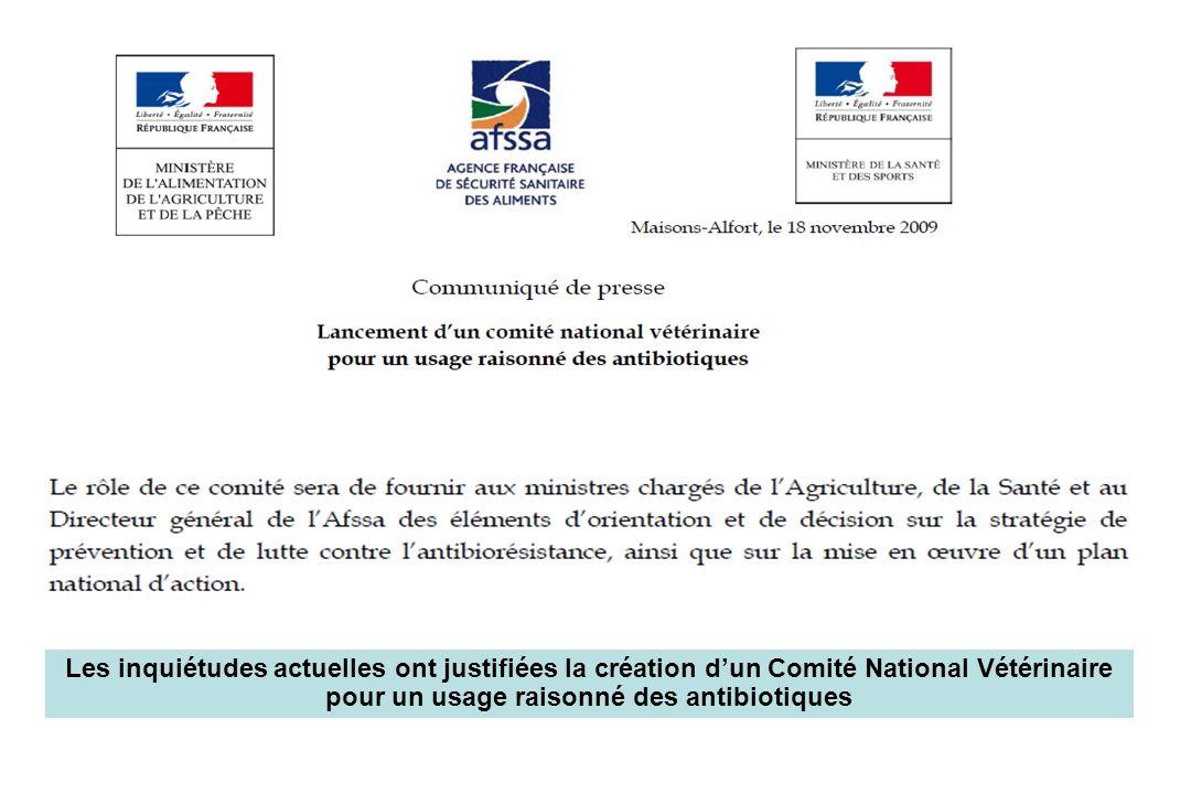 Les inquiétudes actuelles ont justifiées la création d'un Comité National Vétérinaire pour un usage raisonné des antibiotiques