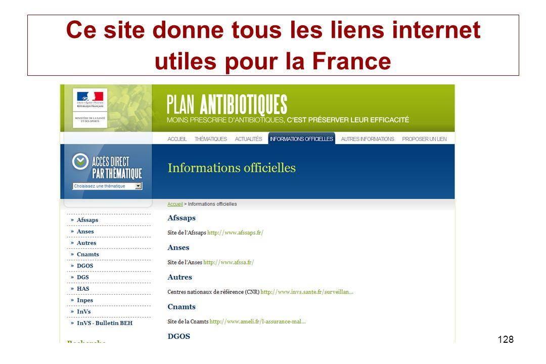Ce site donne tous les liens internet utiles pour la France
