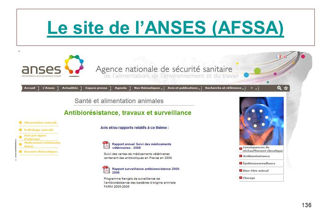Le site de l'ANSES (AFSSA)