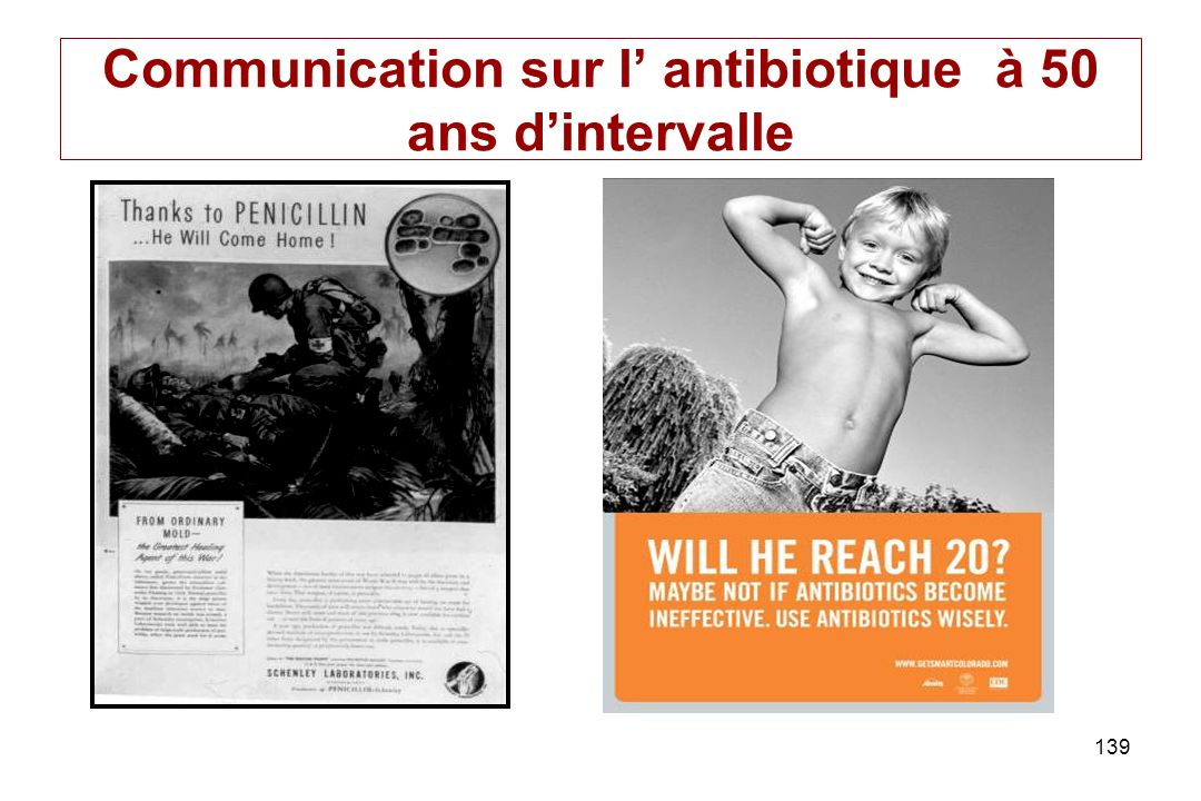 Communication sur l' antibiotique à 50 ans d'intervalle