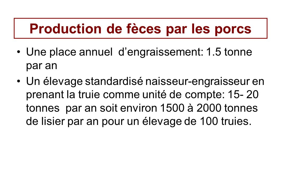 Production de fèces par les porcs