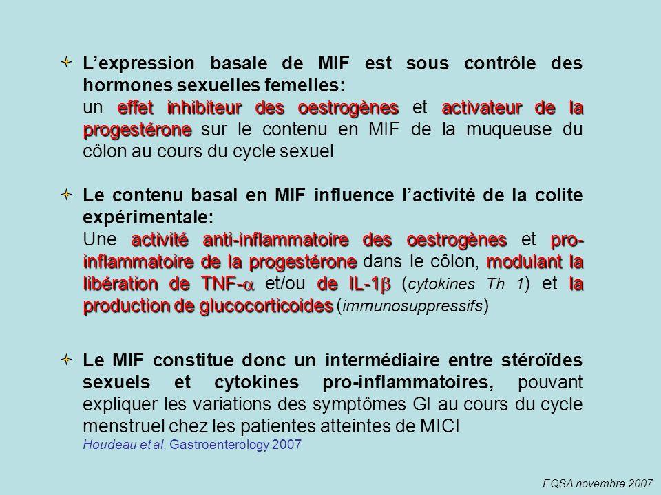L'expression basale de MIF est sous contrôle des hormones sexuelles femelles: