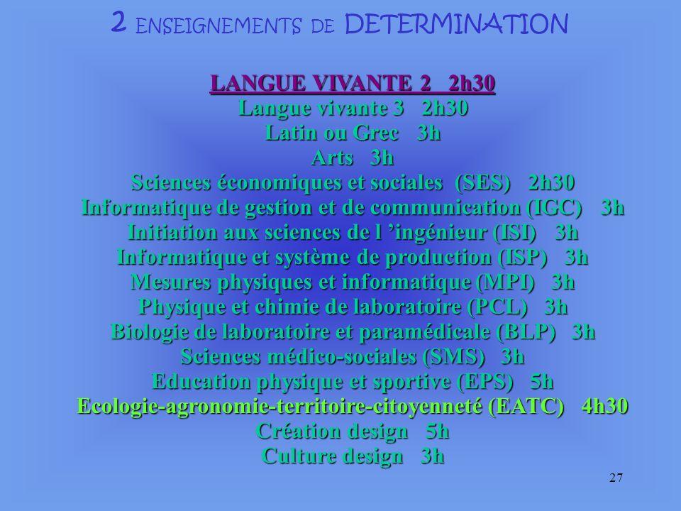 2 ENSEIGNEMENTS DE DETERMINATION