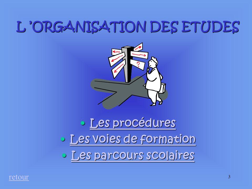 L 'ORGANISATION DES ETUDES Les parcours scolaires