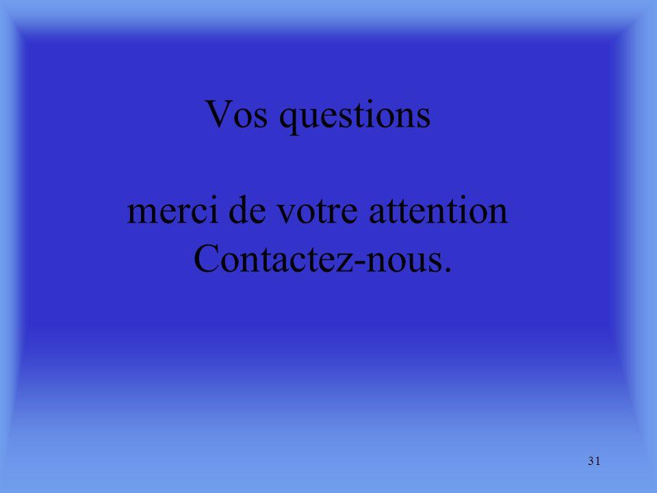 Vos questions merci de votre attention Contactez-nous.