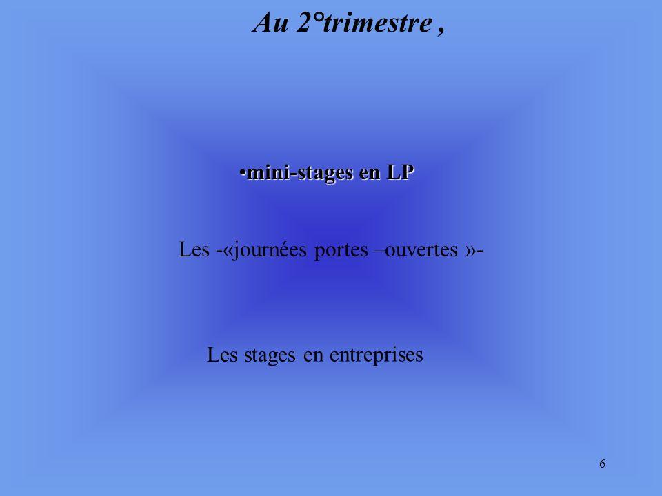 Au 2°trimestre , mini-stages en LP Les -«journées portes –ouvertes »-