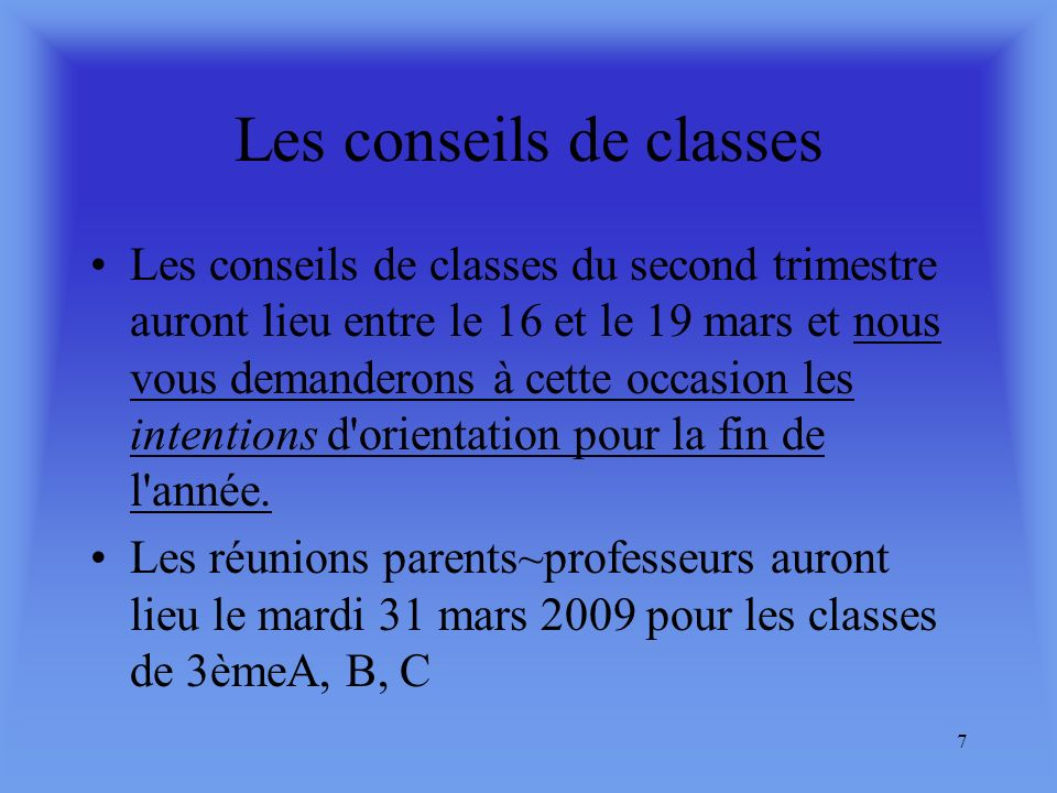 Les conseils de classes