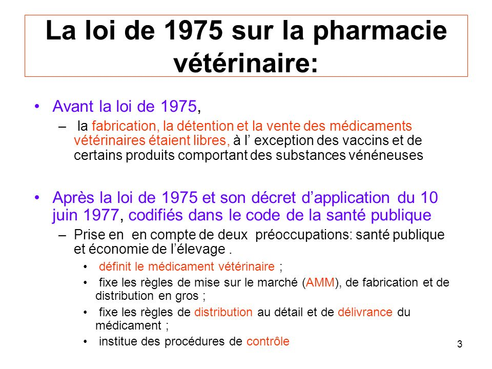 La loi de 1975 sur la pharmacie vétérinaire: