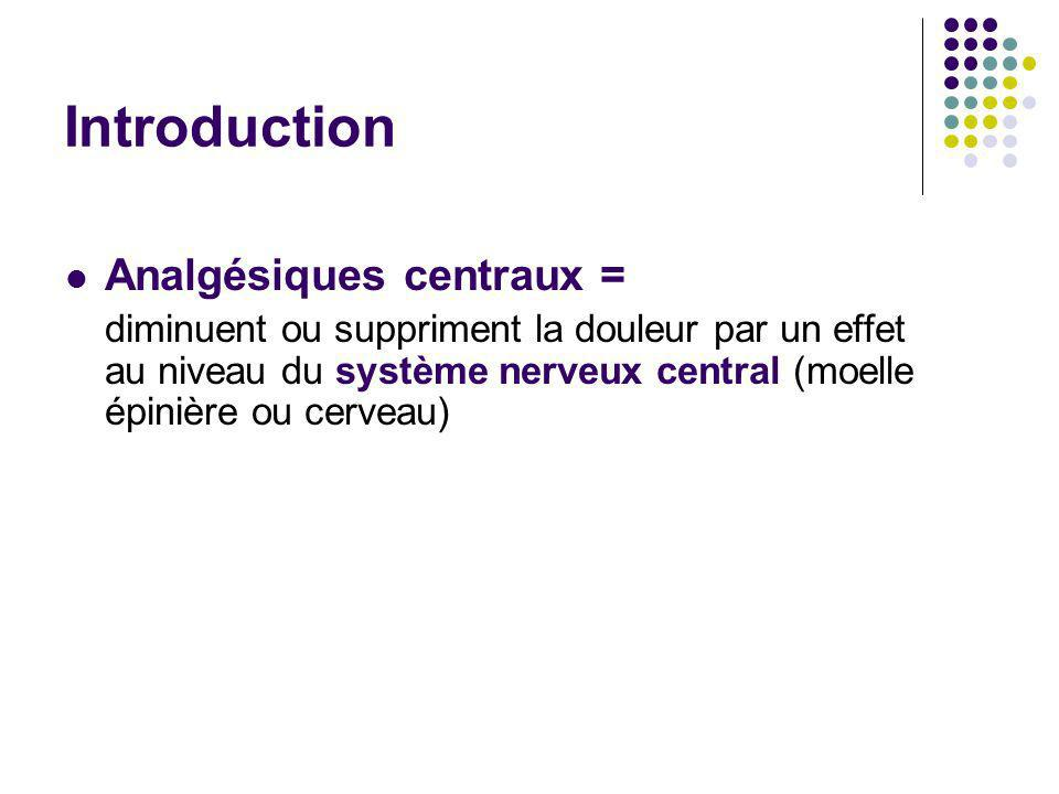 Introduction Analgésiques centraux =